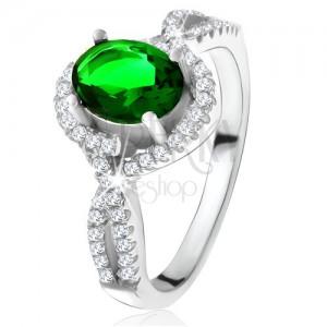 Prsten - stříbro 925, zaoblené linie, čiré zirkonky, oválný zelený kámen