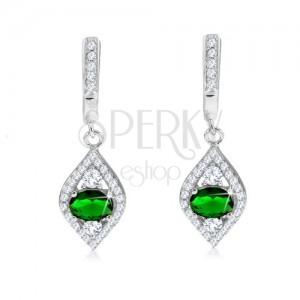 Náušnice ze stříbra 925, zirkonové oko s tmavě zeleným kamínkem