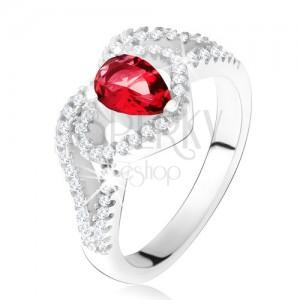 Prsten s rubínovým zirkonem a čirou konturou srdce, stříbro 925