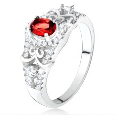Stříbrný 925 prsten, oválný červený zirkon s čirým lemem, ozdobné linie U15.19
