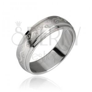 Ocelový prsten - vlnka s tečkami