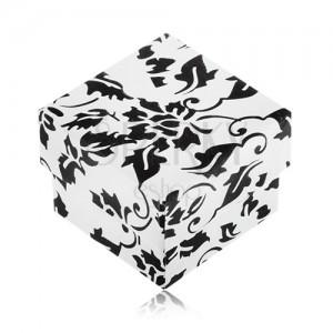Bielo-čierna darčeková krabička na prsteň s motívom kvetov