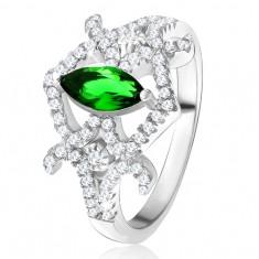 Prsten - zrníčkovitý zelený zirkon, zaoblené linie, čiré kamínky, stříbro 925 SP28.02