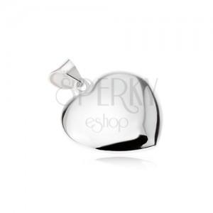 Lesklý hladký přívěsek ve tvaru symetrického srdce, ze stříbra 925