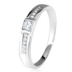 Lesklý prsten, dvě rovné linie, čiré kamínky, stříbro 925 SP26.23
