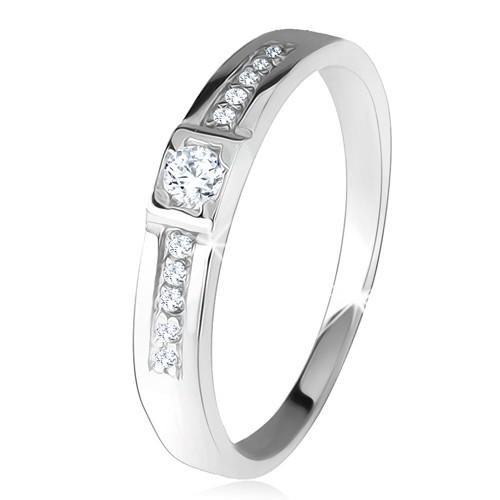 Levně Lesklý prsten, dvě rovné linie, čiré kamínky, stříbro 925 - Velikost: 53