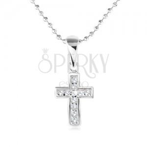 Náhrdelník - kuličkový řetízek, kříž s čirými zirkony, stříbro 925