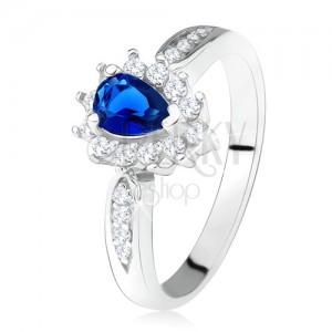 Lesklý prsten - stříbro 925, tmavě modrý zirkon - slza, čiré kamínky
