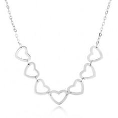 Ocelový náhrdelník stříbrné barvy - řetízek, oválná očka, kontury srdíček