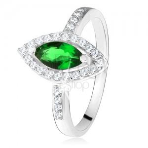 Lesklý prsten - stříbro 925, zrnkovitý zelený kámen s lemem, čiré zirkonky