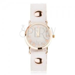 Náramkové analogové hodinky s lesklým bílým řemínkem, ciferník zlaté barvy