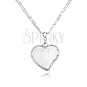 Náhrdelník z chirurgické oceli - dvojitý řetízek, lesklé srdce, stříbrná barva