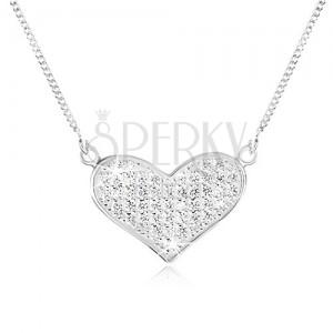Nastavitelný náhrdelník ze stříbra 925, řetízek, rozšířené srdce, čiré zirkony