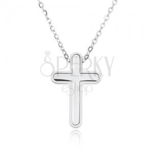 Ocelový náhrdelník, řetízek s malými očky, přívěsek ve tvaru kříže