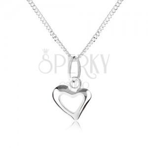 Stříbrný 925 náhrdelník s obrysem asymetrického srdce, spirálovitý řetízek