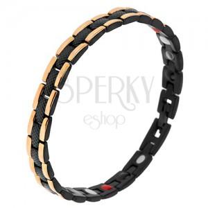 Černý ocelový náramek s hadím vzorem, okrajové pásy zlaté barvy, magnety