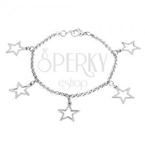 Řetízek na ruku z chirurgické oceli s přívěsky ve tvaru obrysů hvězd