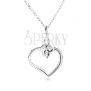 Náhrdelník ze stříbra 925 - řetízek a obrys srdce, tři srdíčka se zirkony