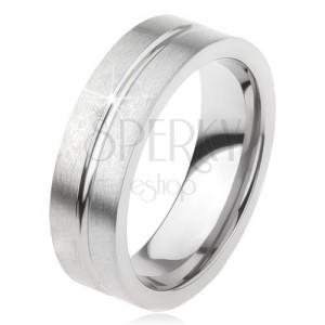 Matný titanový prsten s vodorovným zářezem, stříbrná barva