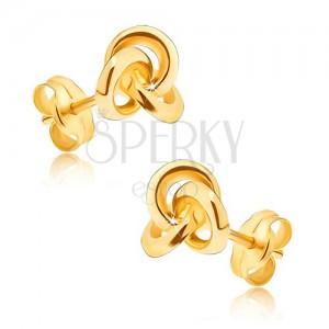 Zlaté náušnice 375 - zrcadlově lesklý uzel ze tří hladkých obrouček