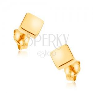 Puzetové náušnice ve žlutém 9K zlatě - blyštivé čtverce, hladký povrch