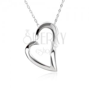 Stříbrný 925 náhrdelník, nastavitelný, řetízek a kontura asymetrického srdce