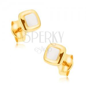 Rhodiované náušnice z 9K zlata - mírně vypouklé dvoubarevné čtverce