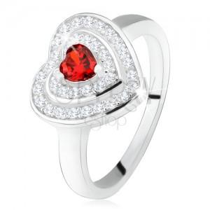 Prsten s červeným zirkonovým srdíčkem, čiré zirkony - obrysy srdcí, stříbro 925