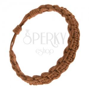 Karamelově hnědý náramek ze šňůrek, pletený, úzký pás a vlny na okrajích