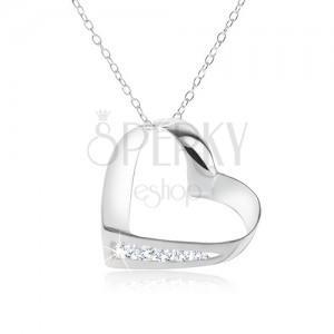 Náhrdelník, stříbro 925, řetízek, obrys srdce, linie čirých zirkonů
