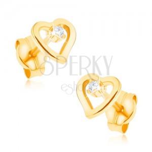 Náušnice ve žlutém 9K zlatě - kontura nepravidelného srdce, zirkonek