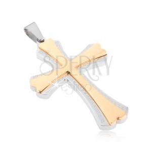 Ocelový přívěsek - kříž stříbrné barvy a menší kříž zlaté barvy, řecký klíč