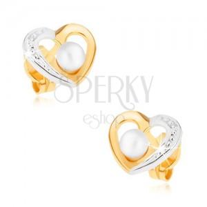 Zlaté rhodiované náušnice 375 - dvoubarevný obrys srdce, bílá perlička