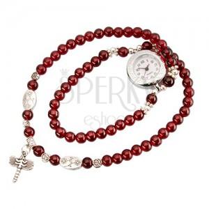 Analogové hodinky, korálkový červený náramek, bílý ciferník, vážka