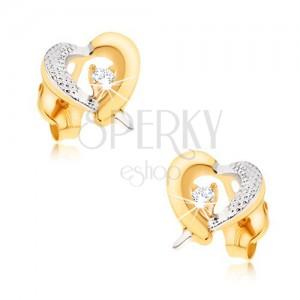 Zlaté náušnice 375 - žluto-bílý obrys srdce, gravírování, zirkon