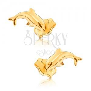 Náušnice ve žlutém 9K zlatě - lesklí skákající delfíni