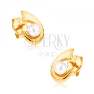 Zlaté puzetové náušnice 375 - blyštivý háček, zaoblený povrch, perlička