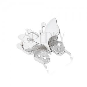 Přívěsek z chirurgické oceli - motýl s výřezem ve tvaru srdíčka na křídlech, čiré zirkonky