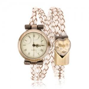 Náramkové hodinky, pletený řemínek, ciferník a přezka matné zlaté barvy