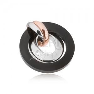 Přívěsek z oceli - stříbrná, měděná a černá barva, kruhy, ovál se zirkonem