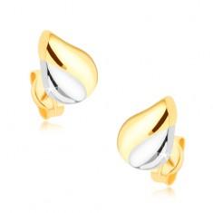 Rhodiované dvoubarevné náušnice v 9K zlatě - slzička se zářezem GG38.09