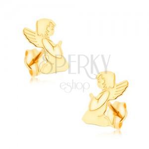 Zlaté náušnice 375 - gravírovaný modlící se andílek, zrcadlový lesk