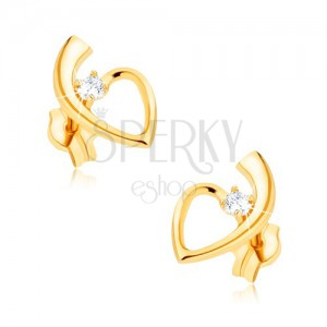 Zlaté náušnice 375, lesklá kontura srdce se stopkou, kulatý zirkon