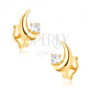 Zlaté náušnice 375 - blyštivý srpek měsíce, kulatý čirý zirkon