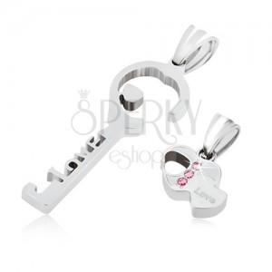 Ocelový přívěsek pro dvojici stříbrné barvy, klíč, srdce, zirkony