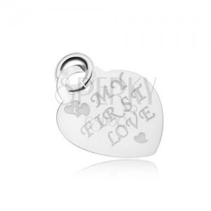 Stříbrný 925 přívěsek ve tvaru souměrného srdíčka, lesklý a plochý, MY FIRST LOVE