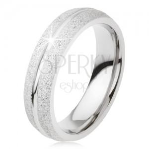 Třpytivý prsten z titanu, lesklý zářez po délce, stříbrná barva