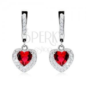 Stříbrné 925 náušnice, přívěsek s červeným zirkonem, dvojité srdce, čiré kamínky