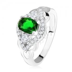 Stříbrný prsten 925, tmavě zelený kámen, lem z čirých zirkonů, tvar oka
