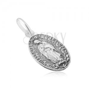 Matný oválný medailon s Pannou Marií, ze stříbra 925, jemně patinovaný